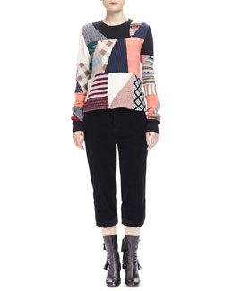 Wide-Corduroy Cropped Pants & Patchwork Pullover Sweater
