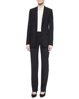 Long Button-Front Crepe Blazer, Collared Stretch-Silk Loose Blouse & Deta Straight-Leg Dress Pants