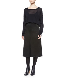 Frayed-Trim Thin Cashmere Top & Long A-Line Suede Skirt