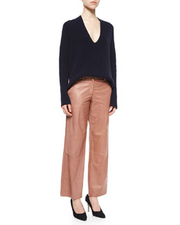 Ribbed V-Neck Merino/Cashmere Sweater & Cropped Wide-Leg Leather Pants