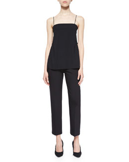 Ruffle-Trim Spaghetti-Strap Tank & Cropped Wool-Crepe Dress Pants