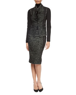 Tweed & Jersey Structured Jacket, Long-Sleeve Jersey Turtleneck Top & Paneled Tweed/Jersey Pencil Skirt