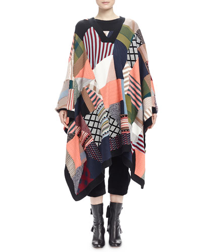 Patchwork V-Neck Poncho Sweater & Wide-Corduroy Cropped Pants