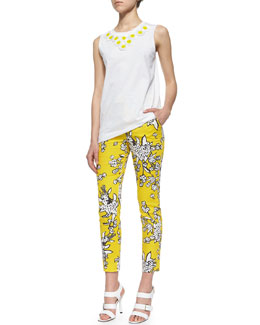 Daisy Embroidered Sleeveless Tee & Bouquet-Print Slim Ankle Pants