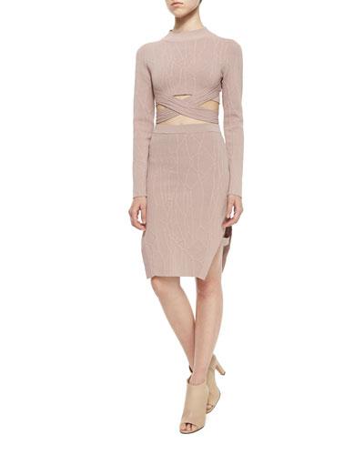 Sahara Rose Patterned Wrap Crop Top & Slit Pencil Skirt