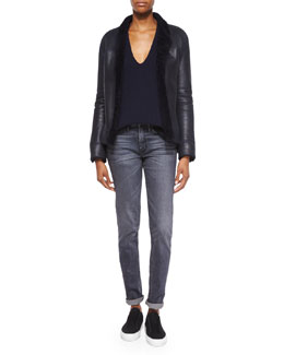 Shearling Fur-Trim Leather Jacket, Ribbed V-Neck Merino/Cashmere Sweater & Straight Slim Whiskered Jeans