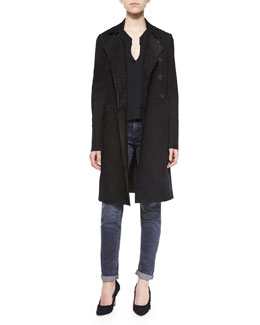 Collared Long Suede Coat, Split-Neck Cotton Tee & Straight Slim Whiskered Jeans