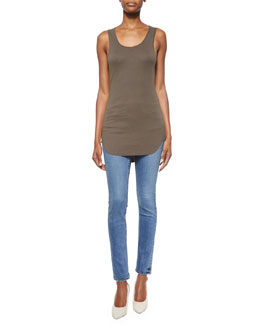 Cotton Racerback Shirttail Tank Top & Lightly Distressed Skinny Ankle Jeans
