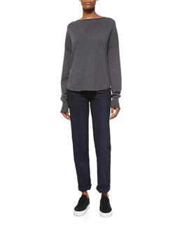 Fine Gauge Cashmere Sweater & Dirty Indigo-Wash Relaxed Denim Jeans