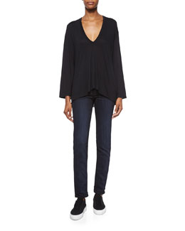 Modal Long-Sleeve V-Neck Top & Dirty Indigo-Wash Skinny Jeans
