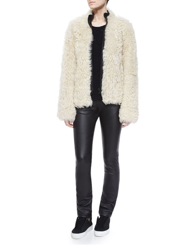 Shearling Fur Front-Zip Jacket, Cashmere Crewneck Sweater & Slim Leather Pants