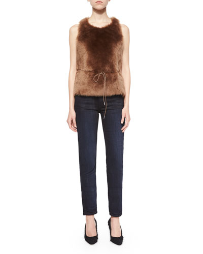 Sleeveless Shearling Fur Tie-Waist Top & Dirty Indigo-Wash Skinny-Leg Jeans