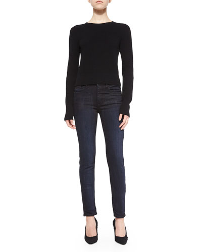 Cashmere-Wool Cropped Knit Sweater & Dirty Indigo-Wash Skinny-Leg Jeans