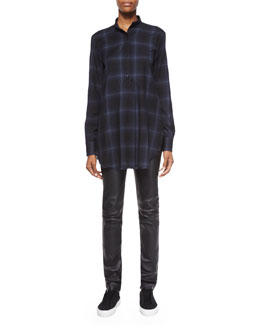 Plaid Flannel Half-Placket Top & Slim Leather Pants