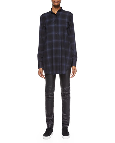 Plaid Flannel Half-Placket Top & Slim Leather Pants