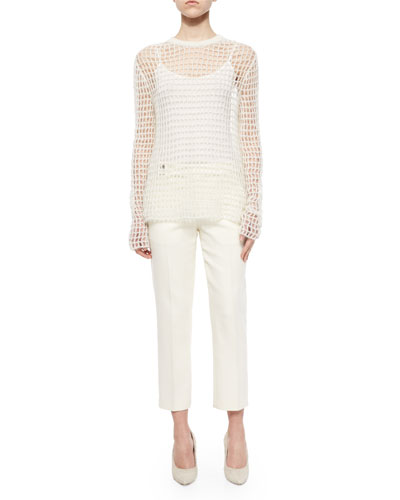 Hand-Knit Open Crochet Sweater & Cropped Button-Tab Twill Pants