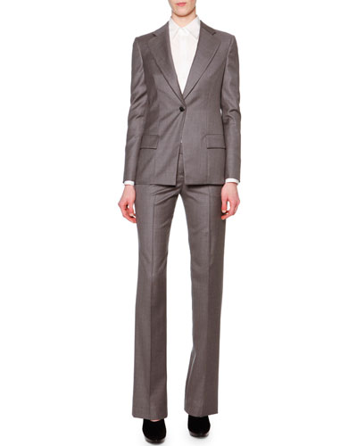 Cashmere-Blend Single-Button Long Blazer & Slight-Flared Cashmere-Blend Pants