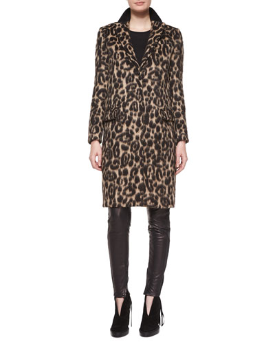 Slim Animal-Print Coat with Taping & Stretch-Leather Leggings