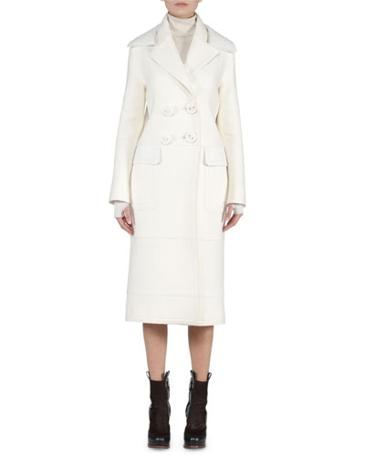 Leather-Collar Felt Long Coat & Contrast-Trimmed Ribbed Sweater