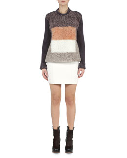 Colorblock Shearling Ribbed Sweater & Seamed Gazar Mini Skirt