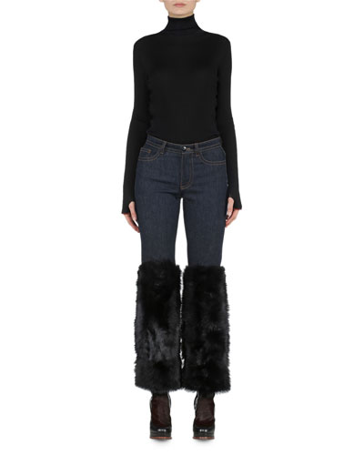 Contrast-Trimmed Ribbed Sweater & Skinny-Leg Denim Jeans with Shearling Fur Cuffs
