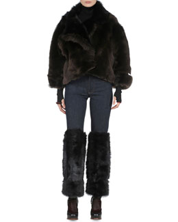Bicolor Reversible Tuscan Shearling Jacket, Contrast-Trimmed Ribbed Sweater & Skinny-Leg Denim Jeans with Shearling Fur Cuffs