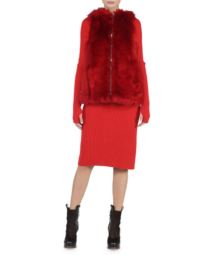 Reversible A-Line Fur Vest & Wide-Ribbed Cashmere Dress