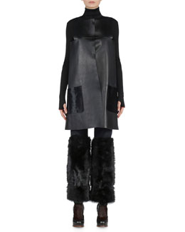 Patchwork Seamed Leather & Calf Hair Vest, Contrast-Trimmed Ribbed Sweater & Skinny-Leg Denim Jeans with Shearling Fur Cuffs