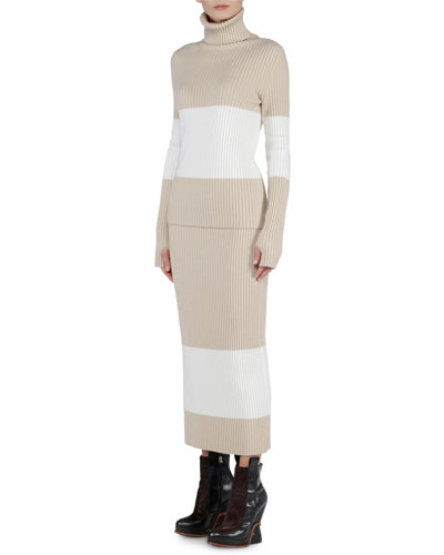 Cashmere Colorblock Turtleneck Sweater & Ribbed Skirt