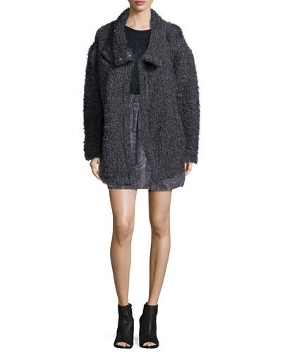 Argane Wool-Blend Knit Jacket, Clay Distressed Linen Tee & Aldora Silk Paperbag Skirt