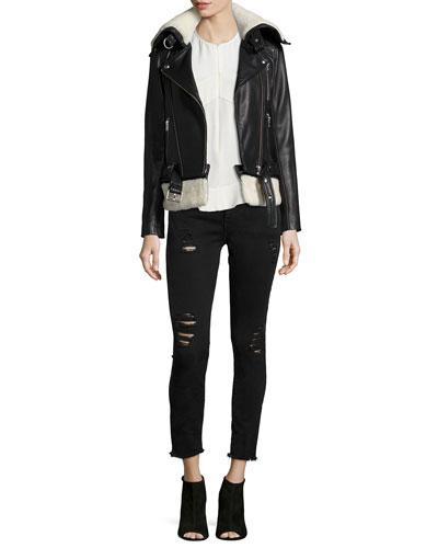 Kolia Leather/Shearling Fur Jacket, Diamant Sleeveless Zip Top & Jarod Distressed Denim Jeans