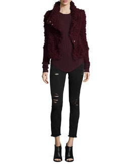 Caty Shaggy Moto Jacket, Serena Ribbed Knit Top & Jarod Distressed Denim Jeans