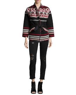 Ashton Geometric Belted Jacket, Sais Ribbed Knit Tank & Jarod Distressed Denim Jeans
