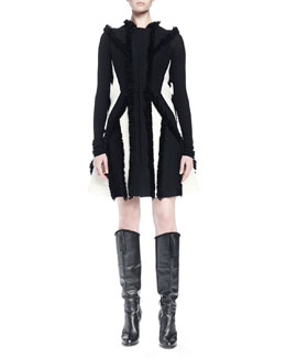 Contrast-Trim Knit Sweater & Fringe-Trimmed Contrast-Inset Dress