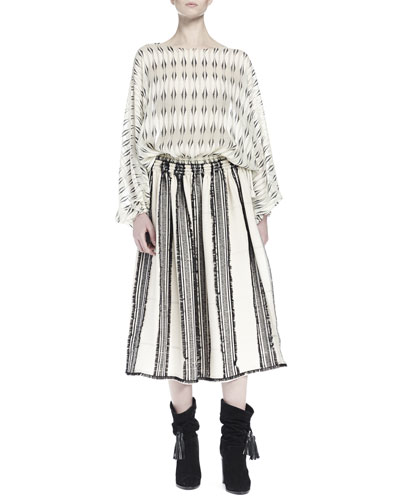 Long-Sleeve Printed Silk Blouse & Striped A-Line Skirt with Frayed Edging