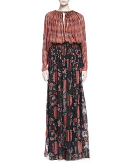 Diamond-Embroidered Gathered Peasant Blouse & Floral Fil Coupe Maxi Skirt