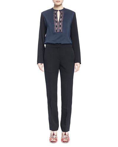 Bicolor Embroidered-Bib Blouse & Rope-Seamed Straight-Leg Trouser