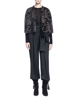 Floral-Print Velvet Swing Jacket, Contrast-Trim Knit Sweater & High-Waist Side-Tie Trouser