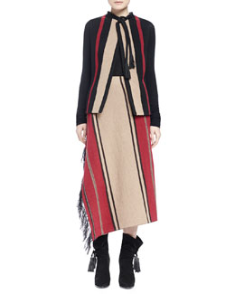 Striped Peplum Back Vest, Contrast-Trim Knit Sweater & Striped Fringe Draped Skirt