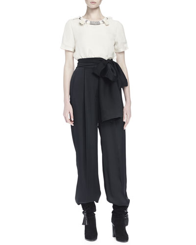 Crystal Rope-Trimmed Top & High-Waist Side-Tie Trouser