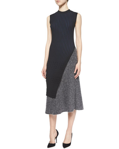 Long-Sleeve Ribbed Faux-Wrap Tunic & Shine Ribbed Knit A-Line Skirt