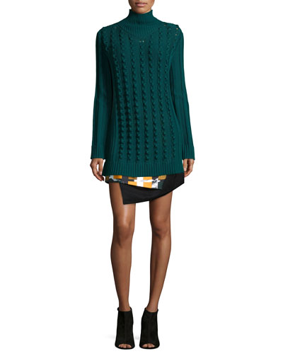 Chain-Stitch Oversized Sweater & Color Story Jacquard Skirt