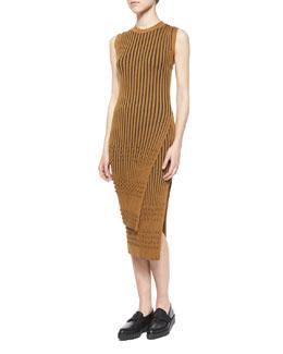 Long-Sleeve Ribbed Faux-Wrap Tunic & Mixed-Rib Knit Pencil Skirt