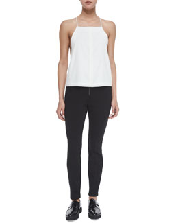 Square-Neck Silk Camisole Top & Ponte Zip-Front Leggings