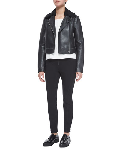 Leather Moto Jacket with Shearling Fur Collar, Square-Neck Silk Camisole Top & Ponte Zip-Front Leggings