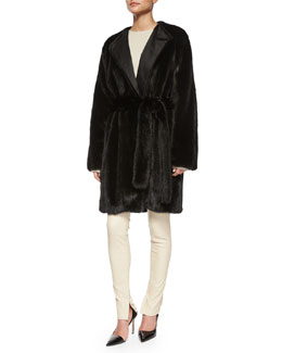 Narston Open-Front Mink Coat, Tisa Cashmere-Blend Crewneck Knit Top & Smashton Stretch Leather Zip Leggings