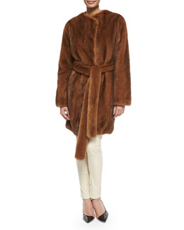 Narston Tie-Waist Mink Coat, Tisa Cashmere-Blend Crewneck Knit Top & Smashton Stretch Leather Zip Leggings