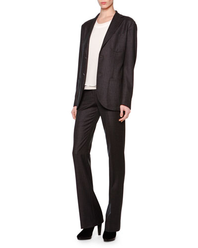 Microchevron Two-Button Blazer & Michrochevron Slightly Flared Pants