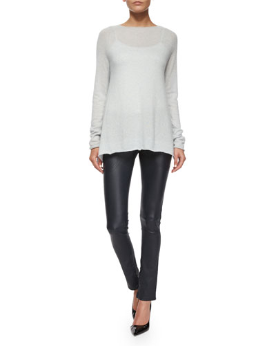 Banny Cashmere-Silk Tissue Sweater & Smashton Stretch Leather Zip Leggings