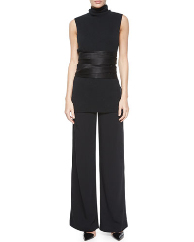 Leona Sleeveless Turtleneck Top, Astrid Leather-Trimmed Wide-Leg Pants & Satin Wrap Kimono Belt